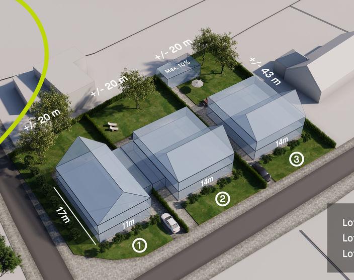Lot 3: rustig gelegen bouwgrond van 851 m² voor open bebouwing !