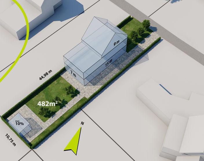 Rustig gelegen ZW gerichte bouwgrond (lot 2) van 482 m² voor HOB te OLV Olen !