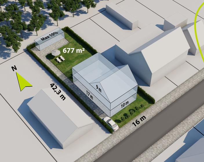 Rustig gelegen bouwgrond van 677 m² voor ruime open bebouwing te OLV Olen !