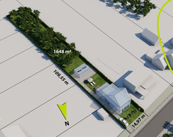 Gunstig gelegen ZZO georiënteerde bouwgrond van 1.648 m² voor ruime open bebouwing !